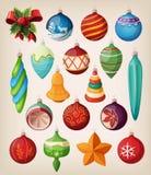 Комплект шариков рождества сбора винограда. бесплатная иллюстрация