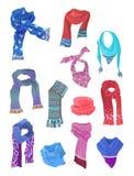 Комплект шарфов для девушек иллюстрация вектора