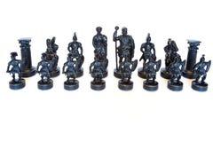 Комплект шахмат камня на белой предпосылке Стоковая Фотография