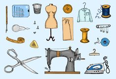 Комплект шить инструментов и материалов или элементов для needlework Handmade оборудование Магазин портноя для ярлыков, badgess бесплатная иллюстрация