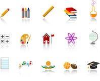 комплект школы иконы цвета иллюстрация вектора