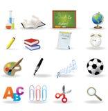 комплект школы иконы Стоковое фото RF