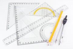 комплект школы математики бумажный придал квадратную форму инструментам Стоковое фото RF