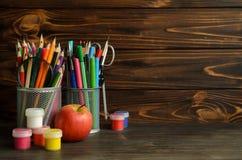 Комплект школы неподвижный для творческого сочинительства и чертежа, космоса экземпляра Стоковые Изображения RF