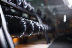 Комплект штанг на предпосылке спортзала Гантели черного металла тяжелые на раковинах Культуризм, концепция физической подготовки Стоковые Изображения RF
