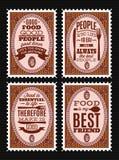 Комплект штемпелей почтового сбора вектора с цитациями на теме еды Стоковые Фото