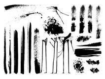 комплект щетки брызгает вектор ходов пятен Стоковые Фото