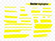 Комплект щетки Highlighter Нашивки отметки самого интересного вектора нарисованные рукой желтые Стоковое Изображение