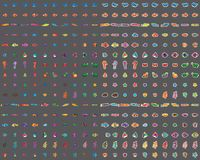 Комплект 100 элемента морского животного красочный иллюстрация вектора
