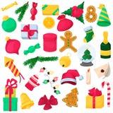 Комплект элемента рождества для дизайна Новый Год иконы Иллюстрация вектора