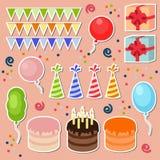 Комплект элементов вечеринки по случаю дня рождения Стоковые Фотографии RF