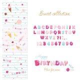 Комплект элементов дизайна партии Дизайн шрифта конфеты и праздничные безшовные картины с помадками Стоковые Фотографии RF