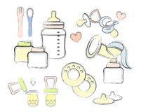 Комплект элементов для младенца подавая, кормя грудью, бутылка с pacifier, ложка вилка насос груди, кукла, контейнеры иллюстрация штока