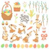 Комплект элементов и характеров дизайна для счастливой пасхи Милые зайчики пасхи, покрашенные яичка, ветви вербы, торты, пирог Стоковая Фотография