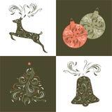 комплект элементов конструкции рождества Нарисованная рукой иллюстрация вектора Стоковые Фото