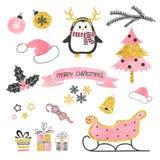 комплект элементов конструкции рождества Собрание элементов xmas для дизайна поздравительной открытки в розовых, черных и золотых Стоковая Фотография RF