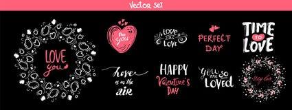 Комплект элементов литерности украшения на день валентинки, иллюстрация вектора Собрание ярлыков или плакатов 14-ое февраля руки  бесплатная иллюстрация