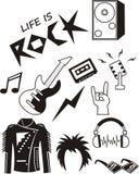 Комплект элементов музыки рок-н-ролл стоковые изображения rf