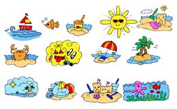 Комплект элементов сезона лета графический Стоковая Фотография