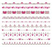 Комплект элементов украшения границы с сердцами Стоковое фото RF