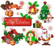 комплект элементов des рождества стоковые фото