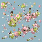Комплект элементов ` s детей в стиле шаржа Игрушки, любимчики, дети, помадки, воздушные шары, радуга etc стоковое изображение rf