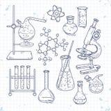 Комплект эскиза различных приборов для химических экспериментов Стоковые Изображения