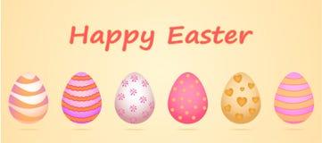 Комплект 6 яичек для торжества счастливой пасхи Картина в нежных пастельных тенях, главные цвета желтый цвет, розовый Стоковые Фотографии RF