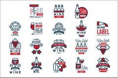 Комплект ярлыков красного вина винтажный, собрание абстрактного вина виноградины emblems иллюстрации вектора бесплатная иллюстрация
