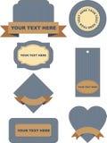 Комплект ярлыков на предпосылке джинсыов иллюстрация штока
