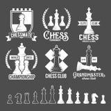 Комплект ярлыков шахмат, значков и элементов дизайна Стоковая Фотография