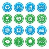 Комплект ярлыков Eco зеленый - экологичность, recyling, принципиальная схема силы eco Стоковые Фотографии RF