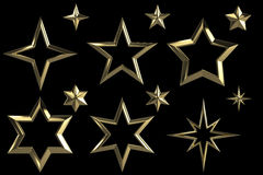 Комплект 12 золотистых звезд Стоковые Изображения