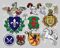комплект 16 элементов heraldic иллюстрация штока
