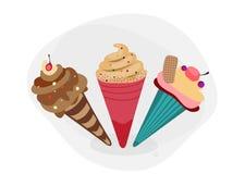 Комплект 3 мороженых. иллюстрация вектора