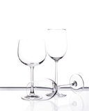 Комплект 3 пустых стекел вина Стоковое Изображение RF