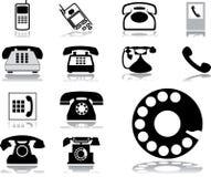 комплект 32 телефонов икон Стоковые Изображения RF