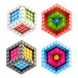 Комплект 4 изолированных составов кубика Стоковые Фотографии RF