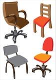 Комплект 4 стулов офиса изолированных на белизне Стоковое Изображение