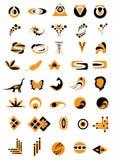 комплект 40 логосов Иллюстрация вектора