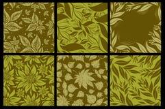 комплект 6 картин листьев безшовный Стоковое Изображение RF