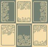 Комплект 6 карточек с флористическими конструкциями Стоковое фото RF