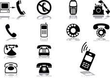 комплект 67 телефонов икон Стоковое фото RF