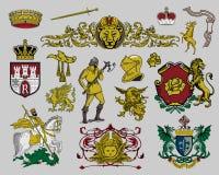 комплект 7 элементов heraldic иллюстрация штока