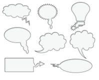 Комплект 8 пустых пузырей речи иллюстрация штока