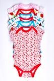Комплект bodysuits младенца, взгляд сверху Стоковое Изображение