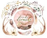 Комплект boho акварели флористический Богемская естественная рамка: листья, пер, цветки, на белой предпосылке наконечников иллюстрация штока