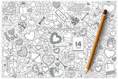 Комплект doodle вектора дня ` s валентинки Стоковая Фотография