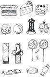 комплект doodle кондитерскаи Стоковое Изображение RF