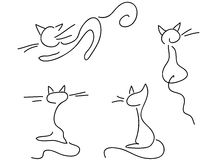 комплект doodle котов милый Стоковое Изображение RF